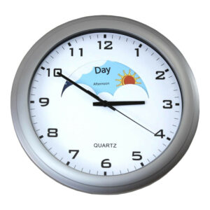Clockface shows day and night